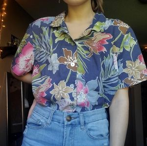 Jamaica Bay womens vintage hawaiian buttonup shirt